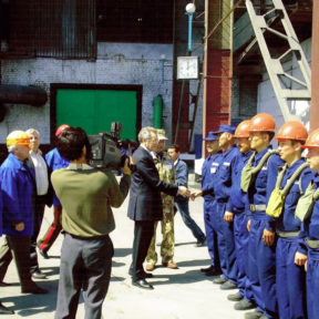 Emergency Situations Minister V. Khrapunov checks the readiness of a special unit working in the chemical industry