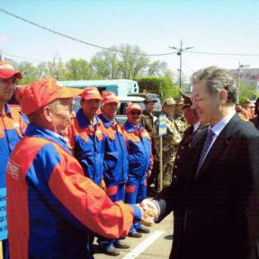 Министр по ЧС В Храпунов знакомится с работой специального подразделения тепловых сетей города Тараза