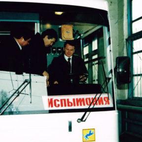 Первый троллейбус Казахстана Испытания 1999 год