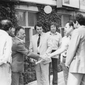 Делегация из Алматы В. Храпунов, В. Сухоруков, Ю. Мещеряков г. Баку 1988