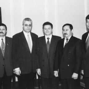 Прием экипажа космического корабля В. Храпунов, Т. Мусабаев, Т. Аубакиров, Н. Бударин, Ю. Батурин