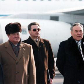 Выступление Президента Н. Назарбаева. З. Кабдошев, З. Нуркадилов, В. Храпунов 1997